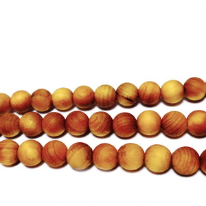 Margele lemn exotic, mate, maro-portocaliu, 6mm 1 buc