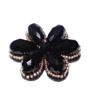 Floare din margele sticla, lacrima, negre, pe pasla, 36mm 1 buc