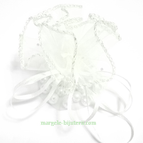 Saculet organza alb cu picatele, diametru 26 cm 1 buc