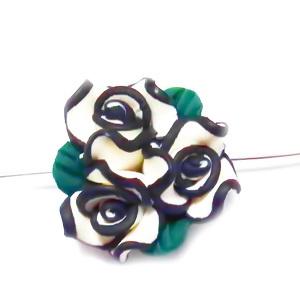 Margele polymer, floare alba cu negru si verde, 20~23x14mm 1 buc