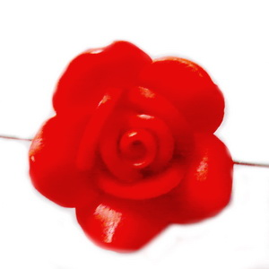 Margele polymer, floare rosie, 18~21x9~13mm 1 buc