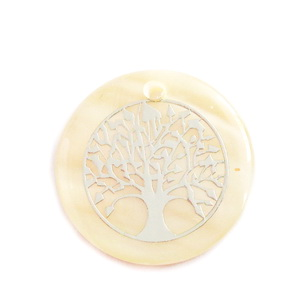 Pandantiv sidef crem, 25~25.5x1.5~2mm, cu imprimeu argintiu ,,copacul vietii' 1 buc