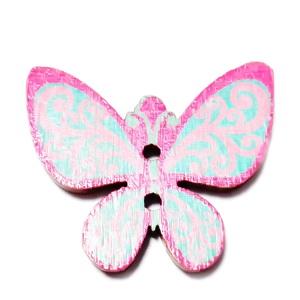 Nasturi lemn, 30x25x2mm, fluturas roz cu bleu 1 buc