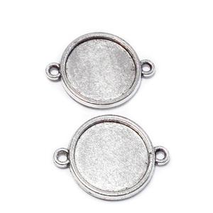 Conector / link cabochon, argintiu antichizat, CU 2 FETE, 25x19x2mm, interior: 16mm 1 buc