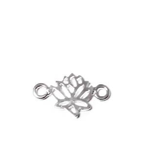 Conector/link placat cu argint, floare de lotus 18x10x2mm 1 buc