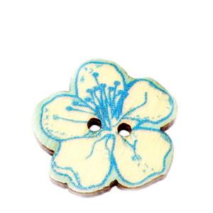 Nasturi lemn, 25x25x2mm, floare crem cu bleu 1 buc