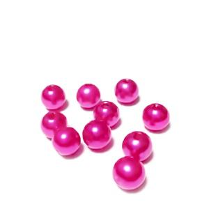 Perle plastic ABS, imitatie perle fucsia, 8mm 10 buc