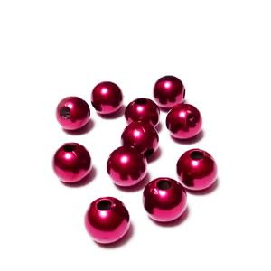 Perle plastic ABS, imitatie perle bordo, 8mm 10 buc