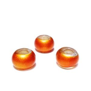 Margele sticla tip Pandora, portocaliu-caramiziu, mate, 9x6mm 1 buc