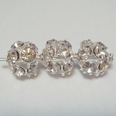 Rhinstone argintiu,  sferic,  8mm 1 buc