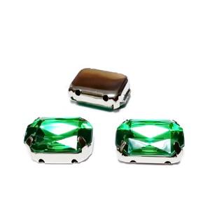 Margele montee rhinestone, plastic, verzi, dreptunghiulare, 14x10x5mm 1 buc