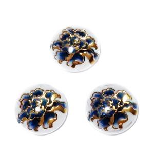 Cabochon rasina transparenta cu floare bleu cu auriu, 16x5mm 1 buc