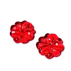 Margele sticla, floare rosie 15x3mm 1 buc