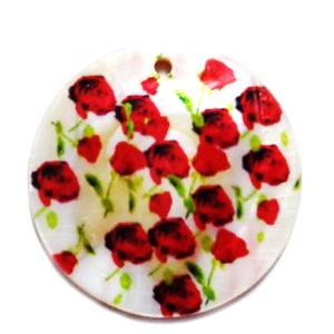 Pandantiv sidef crem cu flori de mac, 35x2mm 1 buc