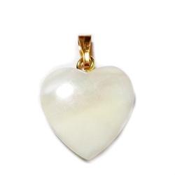 Pandantiv sidef ocean alb cu accesoriu auriu, inima 15x15x3mm 1 buc