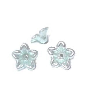 Floare plastic ABS, imitatie perle plastic, bleu-gri, 10x10.5x5mm 1 buc