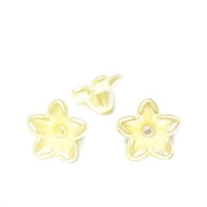 Floare plastic ABS, imitatie perle plastic, galbena, 10x10.5x5mm 1 buc