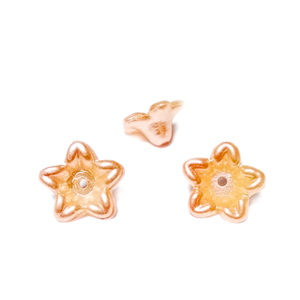 Floare plastic ABS, imitatie perle plastic, roz somon inchis, 10x10.5x5mm 1 buc