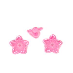 Floare plastic ABS, imitatie perle plastic, roz, 10x10.5x5mm 1 buc