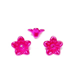Floare plastic ABS, imitatie perle plastic, fucsia, 10x10.5x5mm 1 buc