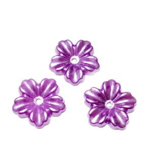 Floare cu 5 petale, plastic ABS, imitatie perle plastic, violet, 12x13x1.5mm 1 buc