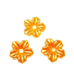 Floare cu 5 petale, plastic ABS, imitatie perle plastic, portocalie, 12x13x1.5mm 1 buc