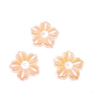 Floare cu 5 petale, plastic ABS, imitatie perle plastic, roz-somon, 12x13x1.5mm 1 buc
