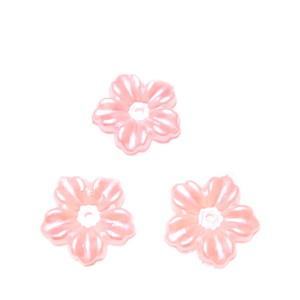 Floare cu 5 petale, plastic ABS, imitatie perle plastic, roz 12x13x1.5mm 1 buc