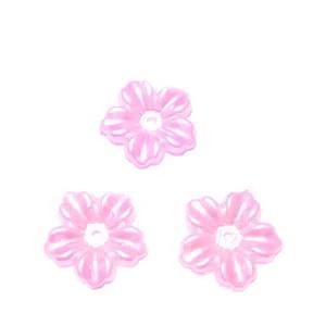 Floare cu 5 petale, plastic ABS, imitatie perle plastic, fucsia deschis, 12x13x1.5mm 1 buc