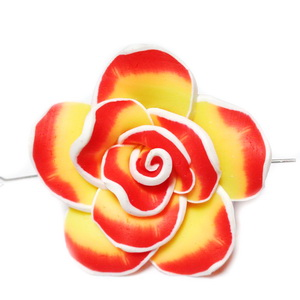 Margele polymer, floare galbena cu rosu si alb, 40x15mm 1 buc