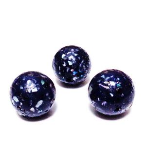 Margele polymer, prelucrate manual, bleumaren cu insertii sidef multicolor, 11-12mm 1 buc