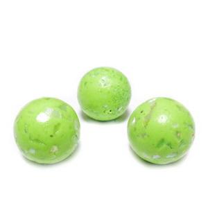 Margele polymer, prelucrate manual, verde-fistic cu insertii sidef multicolor, 11-12mm 1 buc