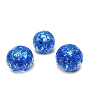 Margele polymer, prelucrate manual, albastru cobalt cu insertii sidef multicolor, 11-12mm 1 buc