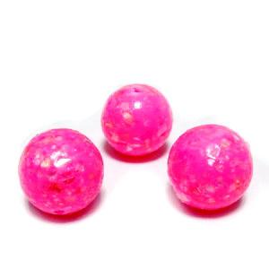 Margele polymer, prelucrate manual, roz intens cu insertii sidef multicolor, 11-12mm 1 buc