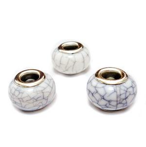 Margele tip Pandora, plastic, imitatie turcoaz alb, 14x9mm, orificiu 5mm 1 buc