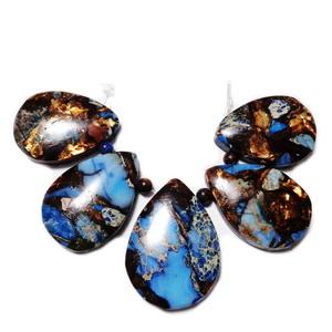 Bronzit cu regalite albastru, set 5 buc lacrima 30~35x22~26x7mm 1 buc