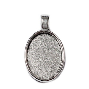 Baza cabochon, argint tibetan, pandantiv 37x21x2.7mm, interior 25x18mm 1 buc