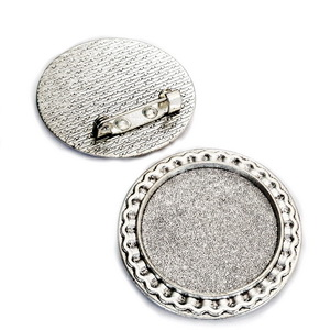 Baza cabochon, argint tibetan, brosa 38mm, interior 25mm 1 buc