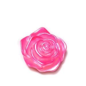 Cabochon plastic ABS, perlat, floare roz, 17x17.5x6.5mm 1 buc