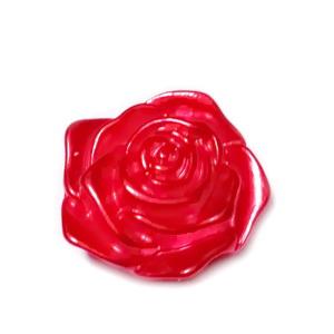 Cabochon plastic ABS, perlat, floare rosie, 17x17.5x6.5mm 1 buc