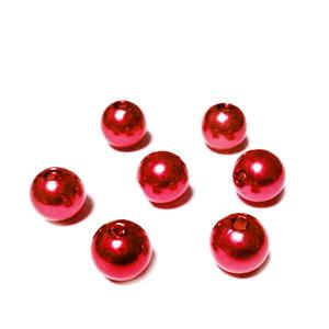 Perle plastic ABS, imitatie perle, rosii, 8mm 10 buc