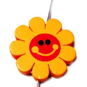 Margele lemn, floare portocalie, 23x4mm 1 buc