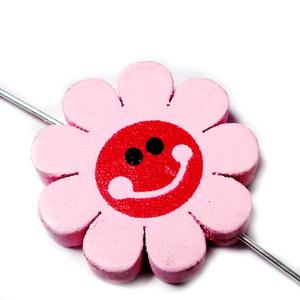Margele lemn, floare roz, 23x4mm 1 buc