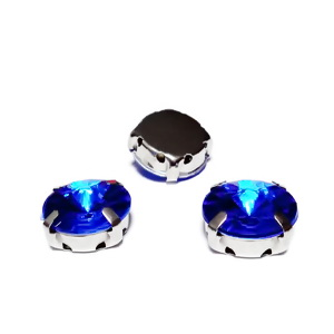 Margele montee rhinestone, plastic, rotunde, albastru-cobat, 12x7mm 1 buc