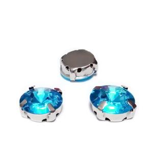 Margele montee rhinestone, plastic, rotunde, bleu, 12x7mm 1 buc