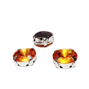 Margele montee rhinestone, plastic, rotunde, portocalii, 12x7mm 1 buc