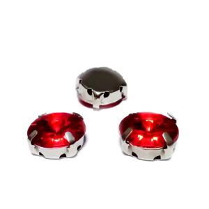 Margele montee rhinestone, plastic, rotunde, rosii, 12x7mm 1 buc