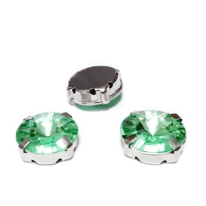 Margele montee rhinestone, plastic, rotunde, verde-deschis, 14x6.5mm 1 buc