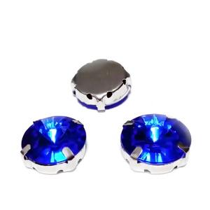 Margele montee rhinestone, plastic, rotunde, albastru cobalt, 14x6.5mm 1 buc