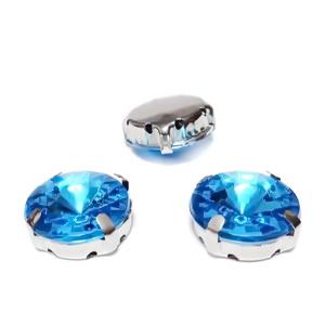 Margele montee rhinestone, plastic, rotunde, bleu, 14x6.5mm 1 buc